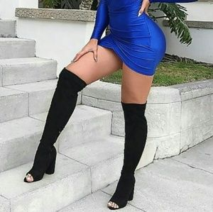 🔥LAST ONE🔥sz.6 Suede Peep Toe Thigh High Boots